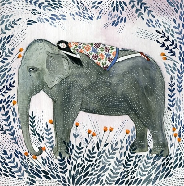 It's Nice That : Yelena Bryksenkova's illustrations are pure pen and watercolour magic #water #girl #elephant #illustration #pen #colour #flowers #leaves