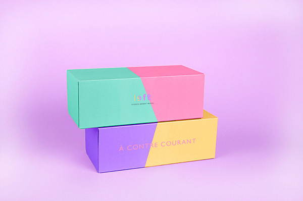 chroniquedesign:Left: A concept shop for left handed people.Branding by Arthur Foliard, Paris. #design #packaging #pastel