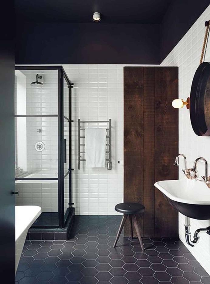 "remodelproj: ""Black and dark wood bathroom """