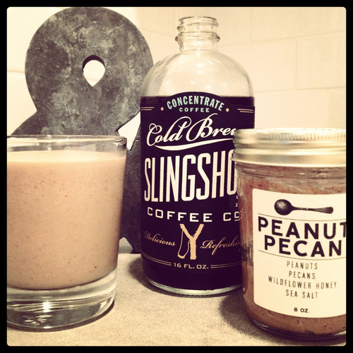 In a blender add:nn2 bananas, sliced and frozenn2 tablespoons peanut butter (we used Big Spoon Roasters)n1/2 cup Slingshot Cold Brew #packaging #design #label #logo #coffee #type