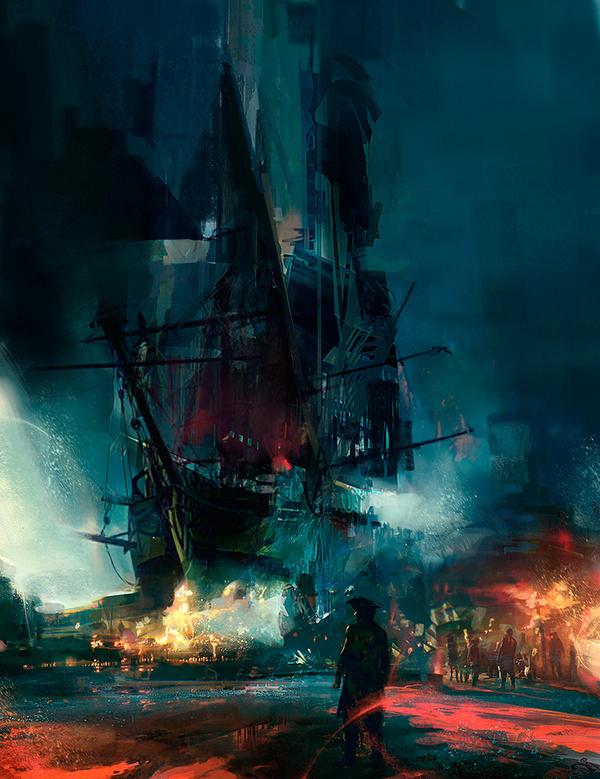 The Art Of Animation, Simon Goinard #night #illustration #ship #concept #glow #painting #art #pirate