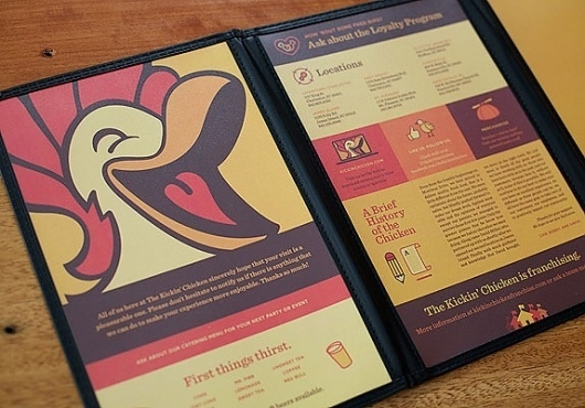 If this Chicken's a Kickin' don't Come a Cluckin' - Brand New #menu #graphic #identity