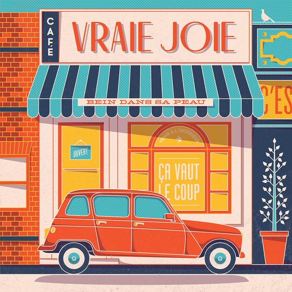 Pavlov Vraie Joie #flat #renault #storefront #cafe #illustration #french #car #typography