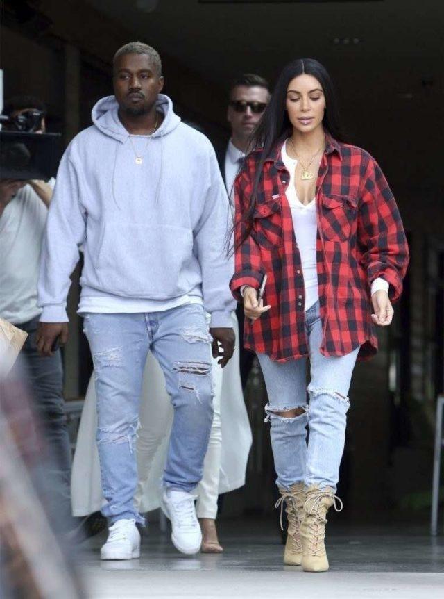 Kanye West with his wife Kim Kardashian West