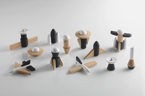 Cosmos is a set of classic wooden blocks reinvented with cool aerospace forms and a patented magnetic system. #toy #minimal
