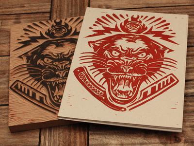 Electric Panther Block Print #linocut