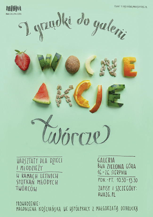 Fruitful Actions Workshops Poster Fruits Vege Food Letters Type