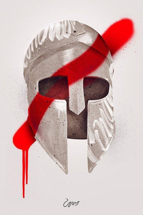 MAAN Design Studio #red #graffiti #helmet #paint #illustration #vandalism #ancient #revolution #spartan #spray