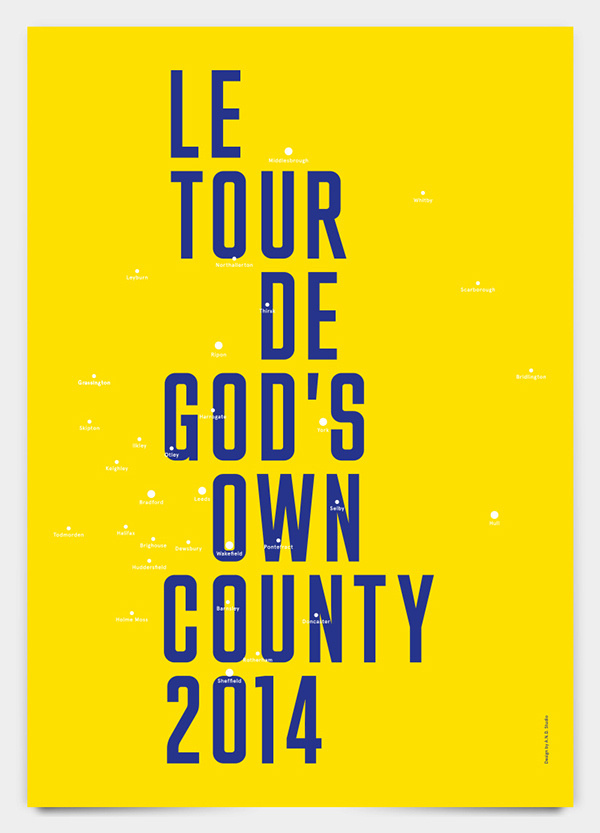 Yorkshire In Yellow A.N.D. Studio #design #graphic #yorkshire #poster #cycling #tdf #typography