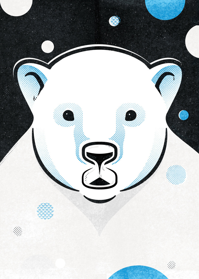 Bear in Mind exhibition 2015 #illustration #print #halftone #bear #polar #wwf #blue #black #awareness