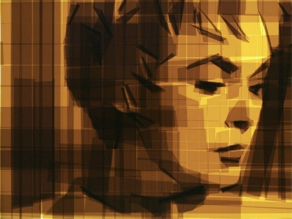 Woman a tape painting #portraits #tape #art #paintings