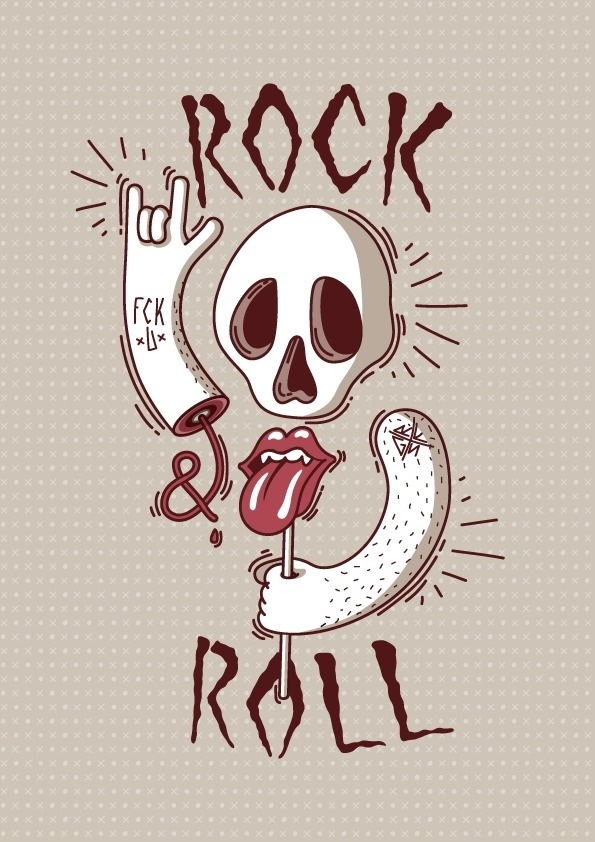 Rock and Roll #vector #tongue #rock #stones #rolling #illustration #roll #and #music #skull