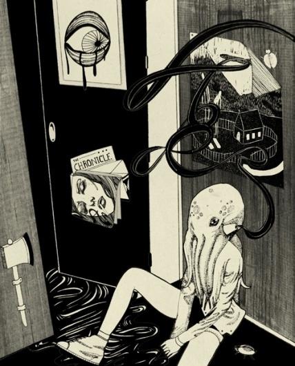 Birdie Houdini #octopus #illustration #birdie #houdini #surreal