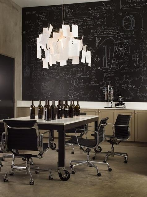 Cool Idea for office/workspace design #interior #lamp #black #chalkboard #brown #light #paper