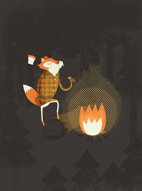 5617256922_c4cab3090a_z.jpg (477×640) #lumberjack #illustration #fire #fox