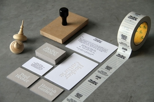 Hecker Guthrie Identity Branding #stamp #tape #rubber #print #namecards #stationery