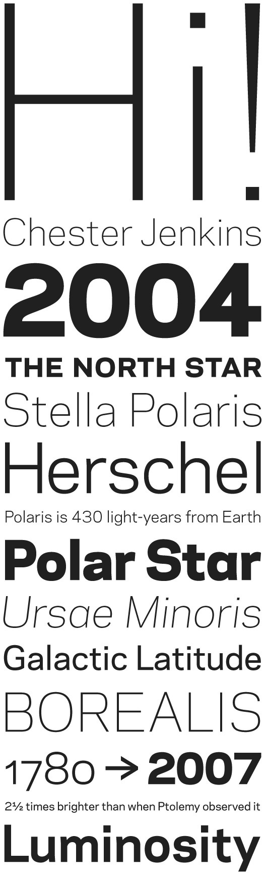 Galaxie Polaris by Chester Jenkins #font #constellation #serif #sans #type #typography