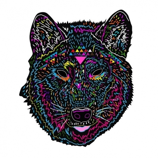 Psychedelic Work of Kris Tate | Abduzeedo | Graphic Design Inspiration and Photoshop Tutorials #colorful #psychadelic #wolf #dog