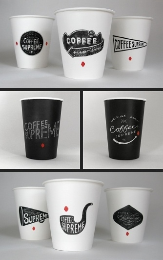 ::: HARDHAT DESIGN / COFFEE SUPREME REBRAND / TAKEOUT CUPS ::: #ink #packaging #chalk #illustration #coffee #cup