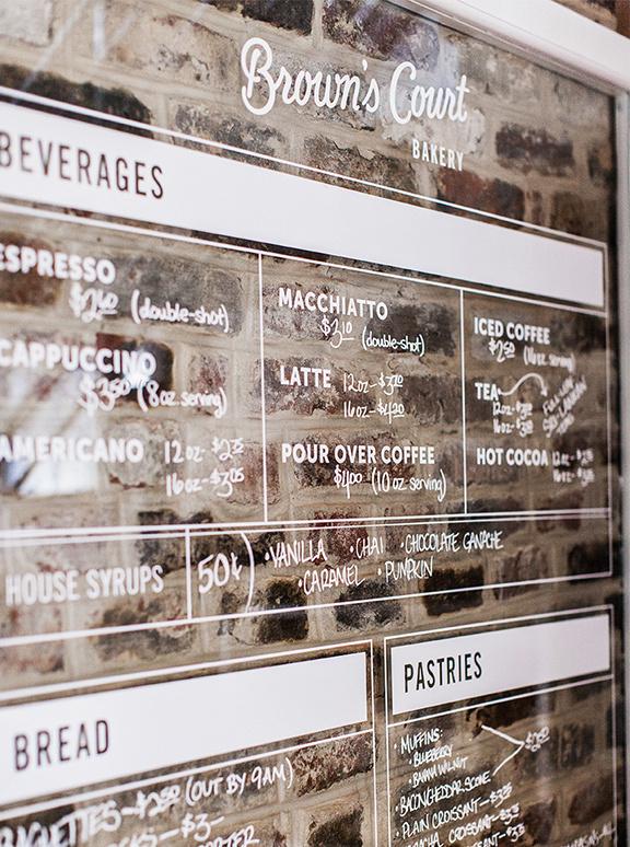 Brown's Court Bakery Menu | Nudge #design #typography #branding #stamp #bakery #brick