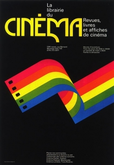 The CANADIAN DESIGN RESOURCE » La Librairie du Cinema Poster #canada #raymond #designers #design #bellemare #poster #1977 #typography