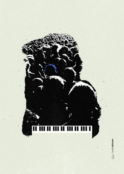 Blue Monkey #piano #negative #crowd #monkey #people #space #worship #illustration #poster #blue