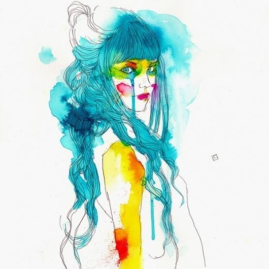 tumblr_lu3t3nLLeP1qz9v0to1_1280.jpg (JPEG Image, 600x600 pixels) #line #water #color #roset #conrad #women #illustration
