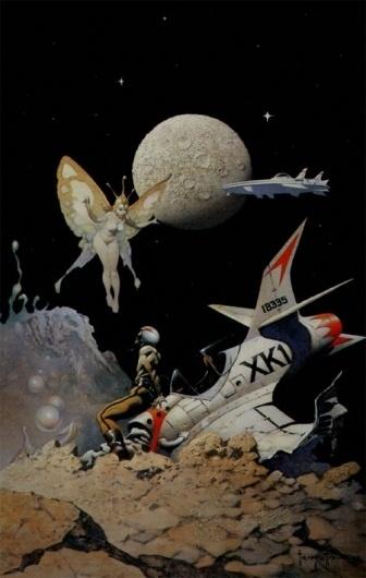 frazetta5.jpg (500×787) #fairy #frazetta #space #spaceship #frank #planet