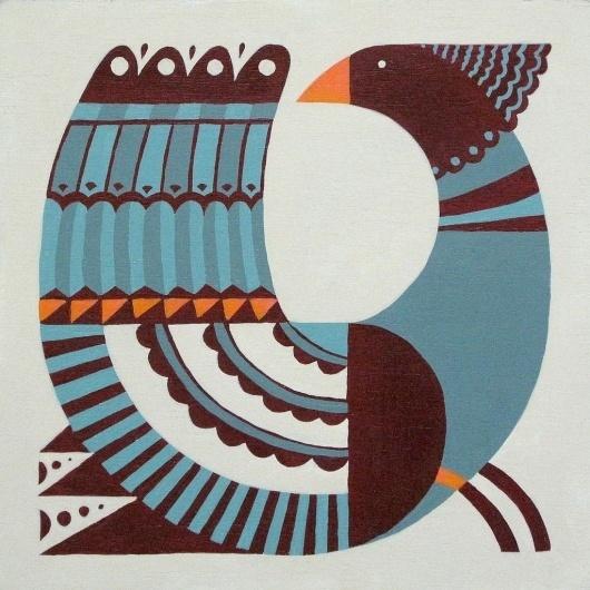 Good Old Days (blue) / Andrew Holder #andrew #paint #holder #bird