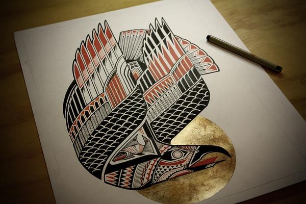 Splash Image #fish #illustration #tattoo #eagle #golden #gold #artist
