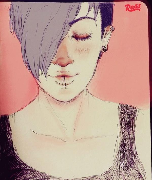 Moleskine Experimental - ross.mx #girl #draw #color #molekine #illustration