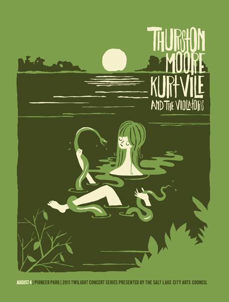 Furturtle Show Prints THURSTON MOORE with Kurt Vile 2011 Twilight Concert Series Poster #girl #moore #kurt #snake #illustration #thurston #poster #lake #vile