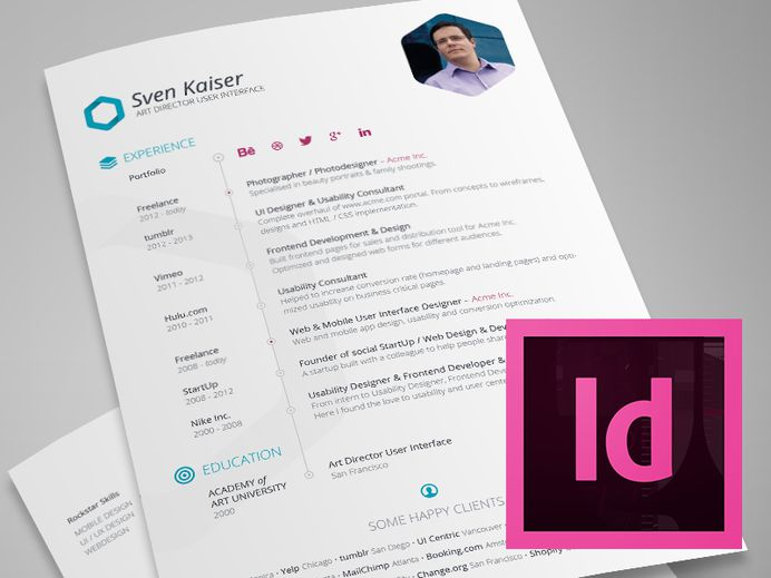 Best Free Resume Template Indesign Ui images on Designspiration