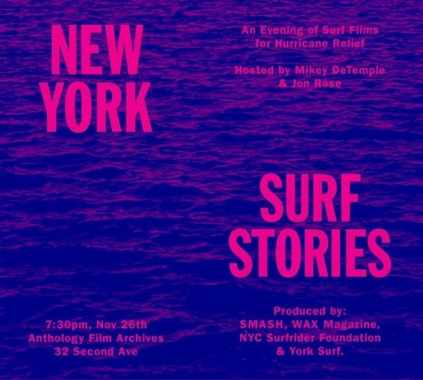 Join an evening of surf movies and hurricane relief, hosted by Mikey DeTemple and Jon Rose. All proceeds will go to Waves for Water. Novembe #ny #surf #neon