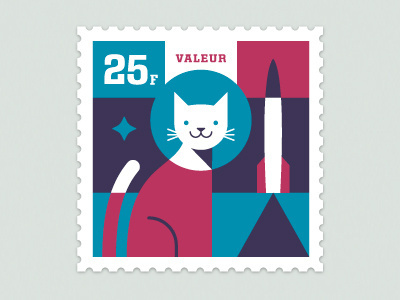Dribbble Space Animal Stamp Series Félicette by Eric R. Mortensen #stamp #vector #postage #color #cat #illustration