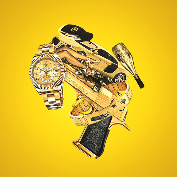 Value Of Nothing Artwork #gun #illustration #watch #bling #money #collectibles