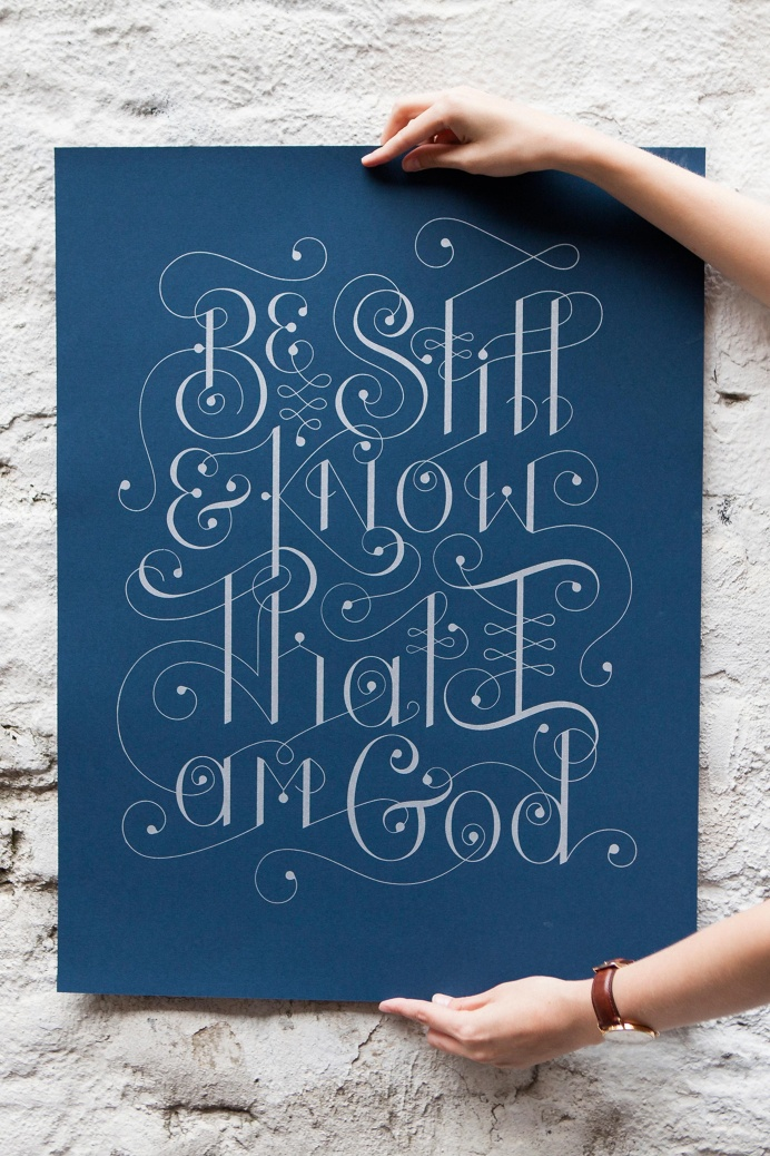 Bottlework Typography poster - Be Still. Silver ink on navy paper
