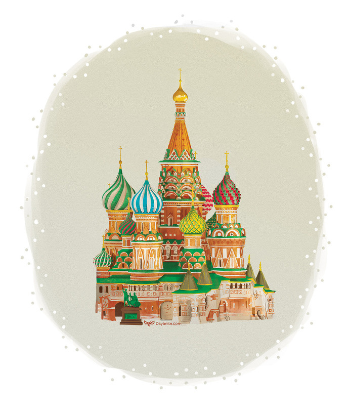 St Basil's Cathedral - Dayonite #city #mosques #illustration #domes #cathedral #buildings