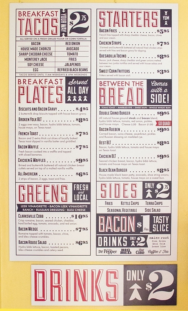 Sanctuary Printshop » Bacon Menus #texas #austin #bacon #vintage #type #layout #typography