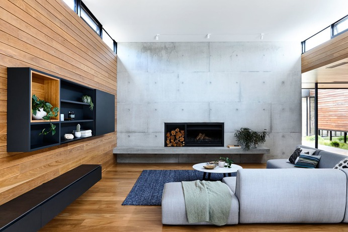 Living Room, Sofa, Medium Hardwood Floor, Wood Burning Fireplace, and Track Lighting Photo 20 of 29 in DS House, Blairgowrie by Planned Living Architects