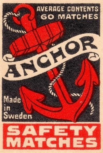 Anchor Safety Matches #packaging #retro #matches #vintage #anchor