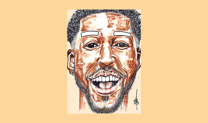 Josh Morgan for 'Birthday Special' series by Chiamaka Ojechi #illustration #pastels #lips #markers #promarkers #minimal #camel #tan #melan