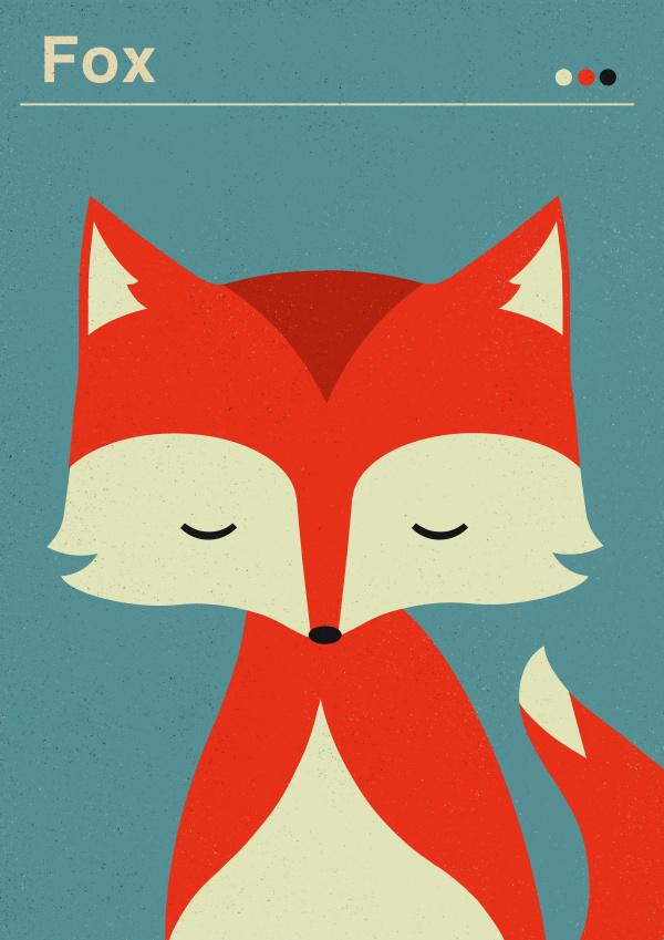 fox, tiny, illustration, color