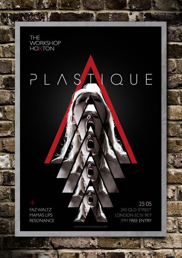 Plastique poster design #live #plastique #red #uk #electronica #rock #print #flyer #london #gig #black #brasil #poster #show #music #alternative #band