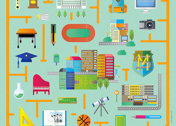 School Memories 2013 #geometry #kong #icon #school #infographic #graphic #poster #hong #illustraion