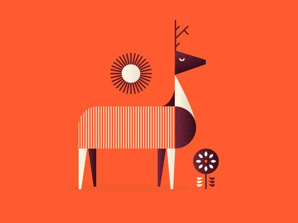 Ciervo #deer #orange #geometric #illustration #flower