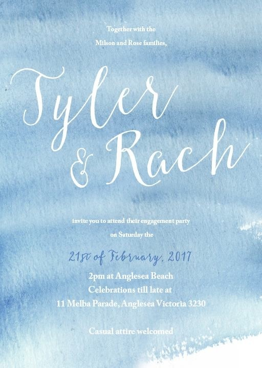 Beach themed engagement invitations to get your guests excited for warmer weather. Love a summer wedding! #paperlust #engagement #engagemen