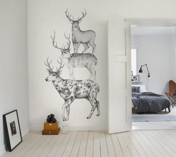 Three Dears wall murals wallpaper | Rebel Walls #interior #deer #white #mural #design #black #illustration #and #wallpaper #animal #sketch