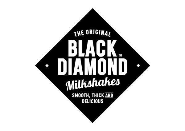 black diamond shake > Buddy creative #milkshakes #branding #1950s #sweet #diamonds #type