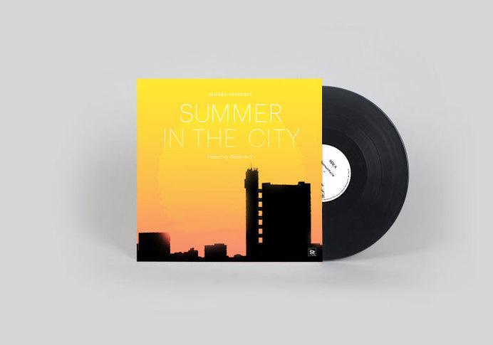 Wizard: Summer in the city #album #sun #london #yellow #trellik #artwork #cover #vinyl #towers #architecture #silhouette #gradient